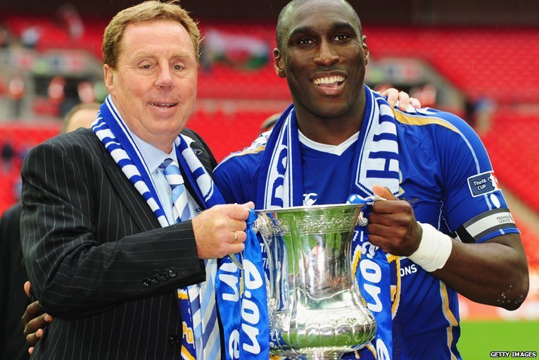 Harry Redknapp and Sol Campbell hold the Trophy - Portsmouth Football Club F.A. Cup Winners 2008 after beating Cardiff City 1-0 at Wembley - The Pompey Chimes